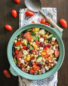 Chopped chickpea greek salad. Get this and more delicious no-oven dinner recipes here.