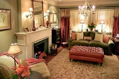 Living Room Design by Candice Olson Living Room Green, Cozy Living Rooms, Living Room Interior, Home Living Room, Living Room Decor, Living Spaces, Den Decor, Small Living, Living Room Lighting Design