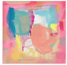Playful pinks and fresh blues are warmed with small pops of bright yellow and layered with clean whites to create this abstract painting. It is a contagiously c