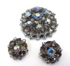 unique gift Antique jewelry wedding bridal Vintage layered blue and silver textured rhinestone flower brooch pin and clip on earrings set