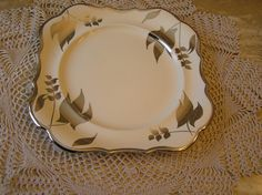 Sandland Ware Silver Luster 9 Inch Square Plate made by Lancaster & Sandland Ltd, in Hanley Staffordshire, England. by SterlingHeirloom on Etsy
