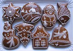 Honey Cookies, Cute Cookies, Cupcake Cookies, Christmas Gingerbread House, Christmas Candy, Christmas Treats, Gingerbread Decorations, Gingerbread Cookies, Vintage Cookies