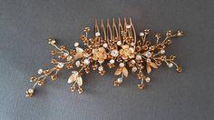 Gold Bridal hair comb  Gold  comb Wedding gold comb Crystal