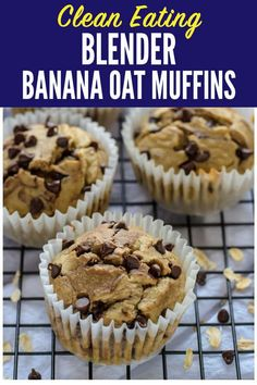 recipe makes 18 smaller muffins. Muffins made with no flour, no butter, and no oil! This healthier banana oatmeal muffins recipe is made in a blender. They're moist and delicious! Blender Recipes, Muffin Recipes, Baby Food Recipes, Baking Recipes, Dessert Recipes, Breakfast Recipes, Jelly Recipes, Banana Oatmeal Muffins, Vegan Oatmeal