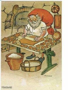 Jaanas Gut o Mixed - Vintage Christmas Cards, Christmas Art, Troll, Gnome Pictures, Christmas Paintings, Illustrations, Scandinavian Christmas, The Elf, Goblin