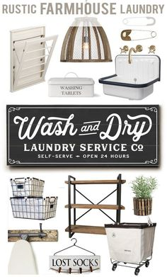 HOUSE + HOME BLOG | LETTERED AND LINED – Rustic Farmhouse Laundry Idea Ideas Sources, Sign, Art, Decor, Rack, Accessories, Bin, Basket, Shelving, Clothespin, Clothespins, Utility Sink, Laundry Service Co, Wash and Dry, Wash dry fold, Self-Serve, 24 hrs