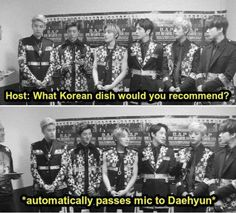 Yongguk, Youngjae and Himchan are laughing at the same thing: Jung Deahyun....forever in charge of food related questions.
