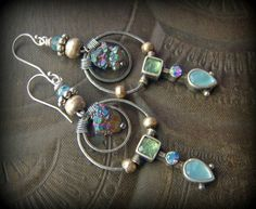 Glass, Retro Hoops, Foil Glass, Earthy, Mystic Quartz,Ethereal, Tia Sophia, Primitive, Organic,Silver Hoops, Beaded, Hoop, Earrings by YuccaBloom on Etsy