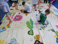 big abstract collaborative paintings