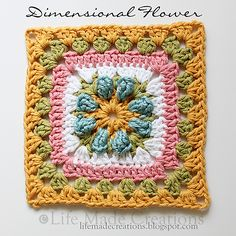 Dimensional Flower Granny Square pattern by Rhonda Rowley
