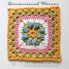 Dimensional Flower Granny Square pattern by Rhonda Rowley