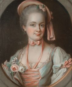 A portrait of Marie-Éléonore-Eugénie de Lévis de Châteaumorand, the comtesse de Saulx -Tavannes, by a French school artist. Circa 1760. She was a lady-in-waiting to Marie Antoinette from 1774 to 1785; in 1785 she retired from her position in favor of her daughter, Gabrielle.