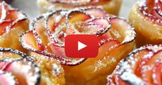 Impress your guests with this beautiful rose-shaped dessert made with lots of soft and delicious apple slices, wrapped in sweet and crispy puff pastry Cooking with Manuela: Apple Roses Apple Desserts, No Bake Desserts, Delicious Desserts, Dessert Recipes, Dessert Ideas, Apple Recipes, Drink Recipes, Streusel Muffins, Apple Slices