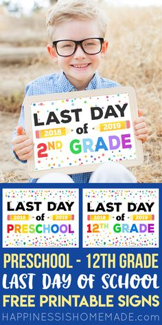 Free Printable Last Day of School Signs - Looking for Free Printable Last Day of School Signs for the end of school? Weve got you covered with these super cute last day of school signs for ALL grades preschool through college! First Day Of School Pictures, First Day School, End Of School Year, School Days, School Stuff, Pre School, Homeschool High School, Homeschooling, Beach House Style