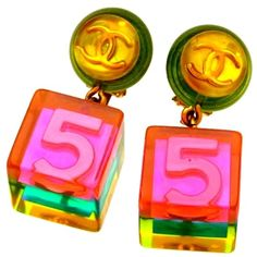 Authentic Vintage Chanel Earrings Pink No.5 Cube Dangle