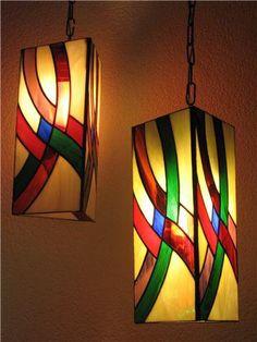 Lámparas hechas por Edith García en base en un patrón para lámparas de mesa de Aanraku.