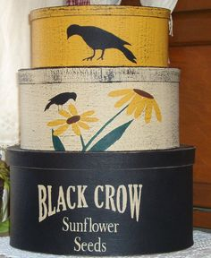 Black Crow Sunflower Seeds primitive shaker style stacking boxes.  via Etsy.