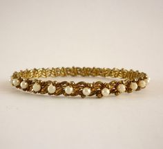 Vintage Gold Tone Pearl Bangle Bracelet