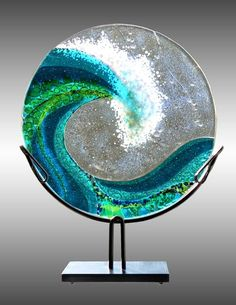 Fused Glass Hanging Wave via Whales Tale Cape May <3