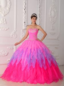 Multicolor Sweetheart Quinceanera Dresses with Beading and Layers in 2014