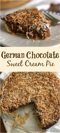 If you love German chocolate cake, you'll love this German chocolate pie! Creamy chocolate filling with nuts and coconut and SO much easier to make! Köstliche Desserts, Chocolate Desserts, Delicious Desserts, Chocolate Cake, Dessert Recipes, Baking Chocolate, Chocolate Bouquet, Sweet Cream Pie, Sweet Pie