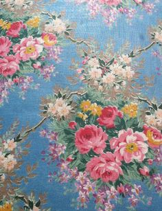 Chintz Calico cloth printed with large flamboyant designs, typically with a floral print. This plain-weave fabric is often starched for stiffness and calendered with wax to produce a smooth shiny surface. Fabric must be dry-cleaned as the glazing will wash off with machine laundering.
