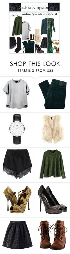 """Saskia Kingston // wardrobe and shoutouts"" by skyfalll ❤ liked on Polyvore featuring Laurel Wreath Collection, Monique Lhuillier, Cynthia Rowley, Nobody Denim, Daniel Wellington, H&M, Vilshenko, Chicwish, Alexander McQueen and Elie Saab"