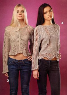 Two sweaters in Filet crochet with the diagram at source