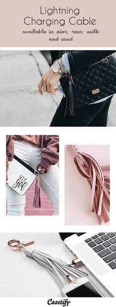 Fashionable leather tassel charging cable for your iphone and ipad on the go. The lightning cable is compatible with iPhone 7, iPhone 7 plus, iphone 6S, iPad pro. iPad air
