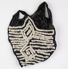 embroidered plastic bag (garbage into art/fashion)