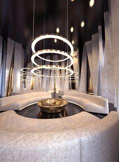 concept / holl interior on Behance Plywood Furniture, Farmhouse Stools, Hotel Lobby Design, Lobby Interior, Living Comedor, Lounge Design, Design Design, Ceiling Design, Modern Interior Design