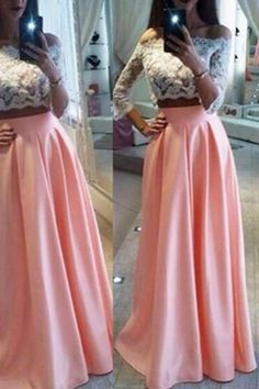 3/4 LONG SLEEVES 2 PIECE WHITE LACE PINK
