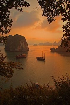 Approaching Darkness  sunset in Halong Bay Vietnam by Dave Hilditch. Here you relax with these backyard landscaping ideas and landscape design. #Relax more with this #free #music with #BinauralBeats that can #heal you: #landscaping #LandscapingIdeas #landscapeDesign