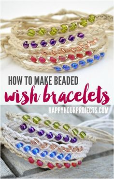 How to Make Woven Wish Bracelets at www.happyhourprojects.com | Great summer project! Cheap and quick to make, it's a perfect camp craft or group craft! More Making Bracelets