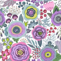 Vector seamless pattern with flowers, leaves, branches and berries.