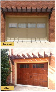 Garage door makeover - from old, rotted wood door to new faux wood steel door that won't rot, warp or crack. Model shown: Clopay Gallery Collection carriage style door with Walnut Ultra-Grain finish, short panel with long rectangular windows and decorative hardware. www.clopaydoor.com IInstallation by A1 Garage Door Service 480-898-3667