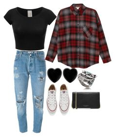 """Flannel Outfit"" by tayjayne8 on Polyvore featuring Levi's, Monki, Dollydagger, Converse and Marc Jacobs"
