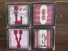 Add a special touch to your Valentines Day decor with these 3.5 Love cubes. Each cube has been hand painted and distressed with quality