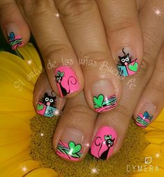 Bright Pink, Green, & Blue Nails With a Cute Black Cat & Hearts! Cat Nail Art, Animal Nail Art, Cat Nails, Nail Art Diy, White Nail Designs, Beautiful Nail Designs, Nail Art Designs, Ruby Nails, Blue Nails
