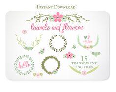 Wreaths Laurels and Flowers Design Elements  $5.00