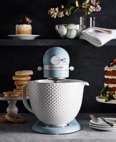 KitchenAid Heritage Misty Blue Stand Mixer with Ceramic Hobnail Bowl at Williams Sonoma Craftsman Kitchen, Farmhouse Style Kitchen, Modern Farmhouse Kitchens, Home Decor Kitchen, Home Kitchens, Kitchen Ideas, Kitchen Craft, Country Kitchen, Kitchen Pantry