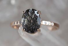 Black Tourmaline in Quartz Engagement Ring with Pavé Diamonds Black Wedding Rings, Titanium Wedding Rings, Custom Wedding Rings, Diamond Wedding Rings, Bridal Rings, Black Rings, Diamond Rings, Diamond Jewelry, Wedding Jewelry