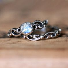 """Moonstone engagement ring set rainbow moonstone by metalicious"" perfect wedding ring, but with opal instead"