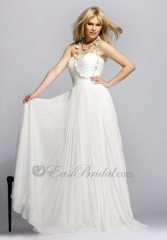 Pure white strapless long a-line chiffon accordion pleated Prom gowns bg0136