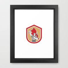 Coal Miner Hardhat Pick Axe Flag Shield Framed Art Print
