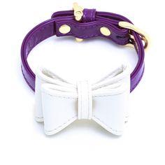 "Enamel Ribbon DOG Collar Bow Set ""OH SO PURPLE & DIAMOND"""