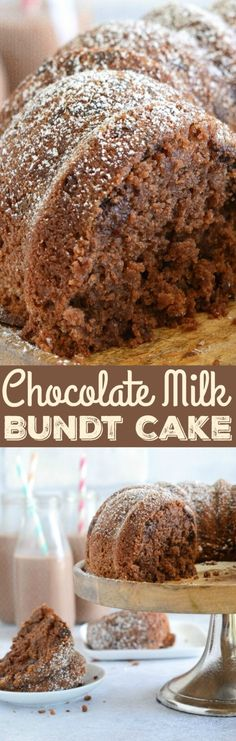 Chocolate Milk Bundt Cake: a sweet, moist homemade chocolate cake that is loaded with Milk® Chocolate Reduced Fat Milk and chocolate chips to create the best bundt cake ever! Brownies With Frosting) Pound Cake Recipes, Cupcake Recipes, Baking Recipes, Dessert Recipes, Homemade Chocolate, Chocolate Desserts, Chocolate Chips, Chocolate Cake, Chocolate Tarts