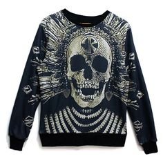 Golden Skull Print Unisex Sweatshirt ($21) ❤ liked on Polyvore featuring tops, hoodies, sweatshirts, black, crew sweatshirt, black skull top, unisex tops, black top and sweat tops