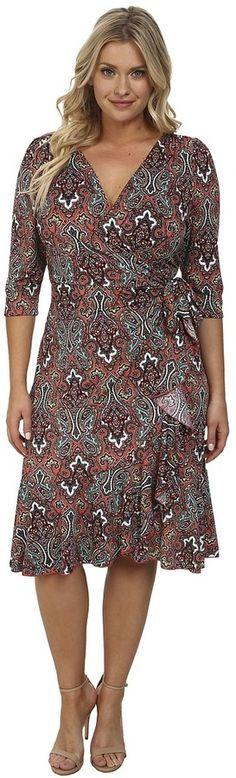 Plus Size Flounce Wrap Dress