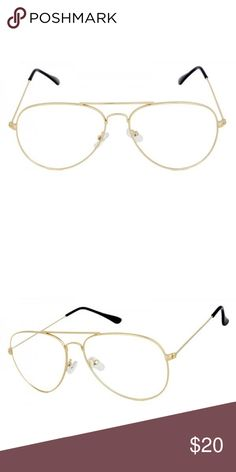 Gold Clear Aviator Women's Men's Clear Glasses ▪️Brand New Clear Eye Glasses ▫️UV Protected ▪️Clear Lenses - Non Prescription  ▫️Celebrity Sunglasses Kylie  ▪️Ships New In a Bag W/ a Protective Box ▫️I Have Silver, Black & Gold In My Shop ▪️Priced To Sell ▫️Unisex - Good For Men & Women ▪️Cat - Wayfarer - Clubmaster - Aviator - Retro - Vintage - Jenner Styles In My Shop H&M Accessories Sunglasses